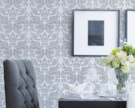 Small Acanthus Damask Stencil for Wall Decor and More