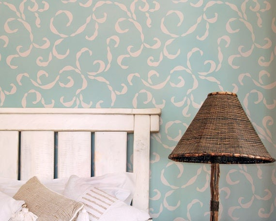 Large Sea Scrolls Vine Wall Stencil for DIY Custom Wallpaper Look and Home Decor