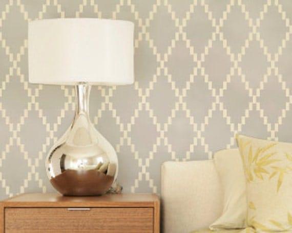 Large Wall Stencil - Modern Harlequin Diamond Pattern Wallpaper Design - Paint an Accent Wall