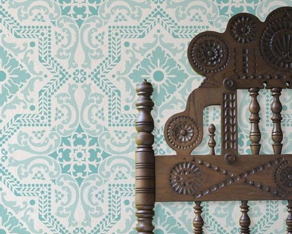 Wall Pattern Stencil Lisboa Tile Stencils for Painting DIY Decor - Faux Tiled Wall or Floor Tiles