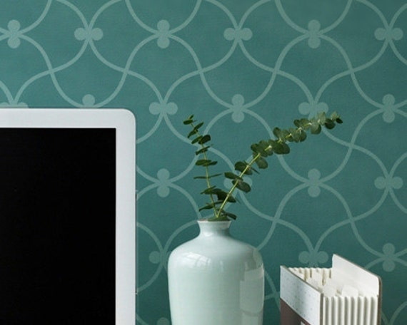 Large Curved Modern Wall Stencil - Painting Bedroom or Office with Allover Wallpaper Patterns