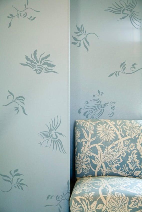 Wall pattern stencil oriental brushstroke asian inspired - Oriental stencils for walls ...