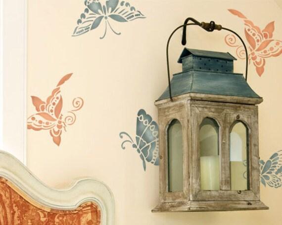 Wall stencils oriental chinoiserie butterflies stencil set for - Oriental stencils for walls ...