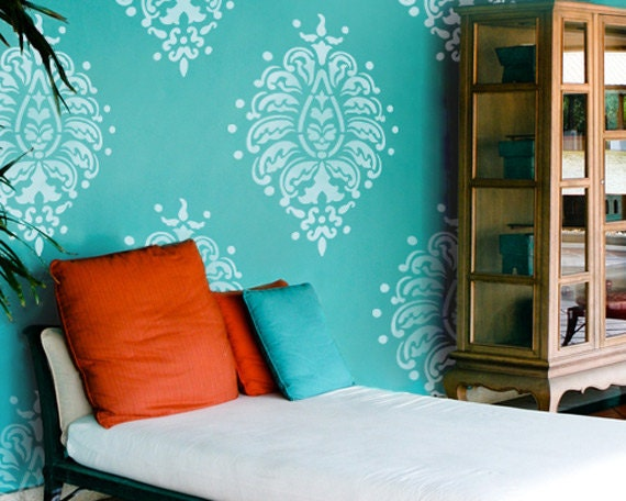 Resuable Wall Stencils Grande Bombay Paisley Motif Stencil Set for DIY Wall Decor