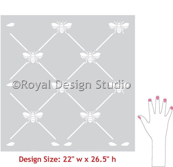 Wall Stencils French Bee Trellis Allover Stencil For Elegant DIY Decor And Vintage European Wallpaper Look