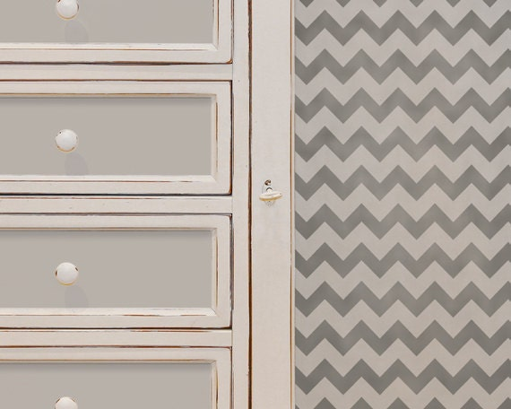 Chevron Stripe Wall and Furniture Stencil for Painting Chevron Stripe Wallpaper Look