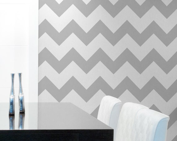 Classic chevron wall stencil paint large chevron stripes for Chevron template for painting
