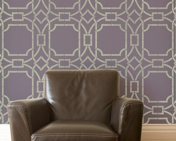 Large Modern Trellis Wall Stencils for Geometric Designer Wallpaper Look and Easy DIY Home Decor