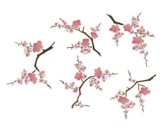 Wall decor stencil cherry blossoms for diy decorating for Cherry blossom wall mural stencil