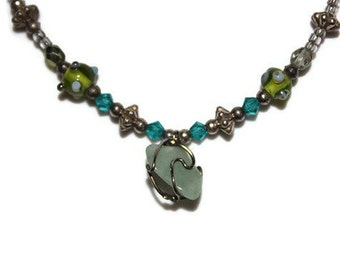 Blue & Green Spring Gemstone Natural Earth Stone Beaded Recycled Wire Wrapped Necklace