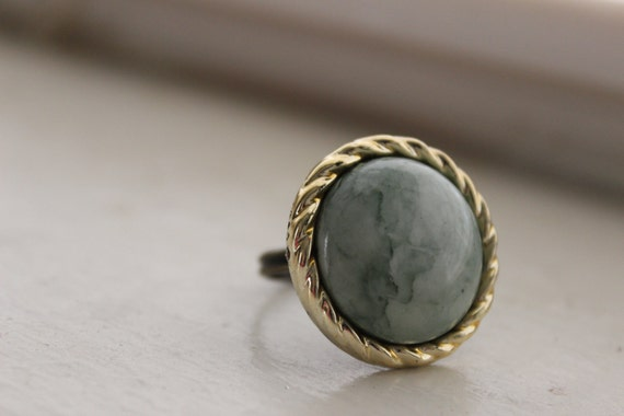 Adjustable Recycled Vintage Jade Green Earth Round Button Ring