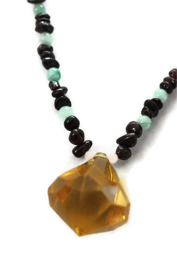 One of a kind Genuine Garnet, Jade & Rose Quartz Natural Gemstone Fall Autumn Wedding Prom Pendant Necklace