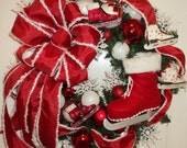 Christmas Wreath Red White Ice Skate Snowflake