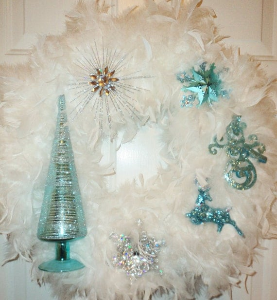 Blue Silver White Feather Christmas Wreath Snowflake Deer Snowman