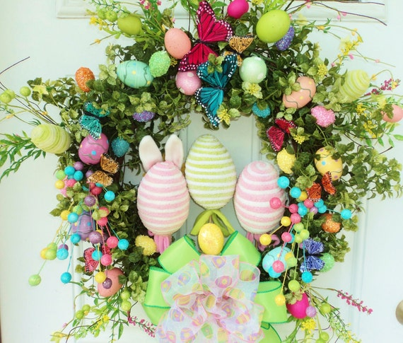 Easter Wreath Spring Wreath with Easter Eggs and Butterflies - LAST ONE