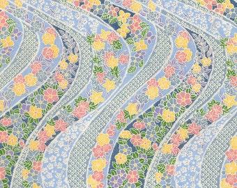 Pale Blue Floral Japanese Yuzen Chiyogami Washi Paper
