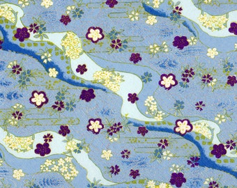 Blue Plum Glittering Japanese Yuzen Chiyogami Washi Paper