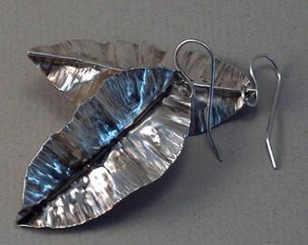 Sterling Silver Fold-Formed Leaf Earrings