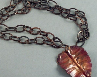 Fold-formed Copper Leaf Pendant on Copper Chain