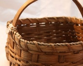 Handmade Country Granny Basket w/ solid oak handle