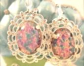 Vintage Earrings, Opal Earrings, Vintage Cabochons, Glowing, Colorful Earrings by Aunt Jewell