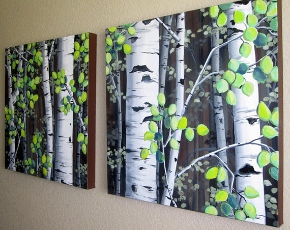 "Colorado Aspen Trees on Canvas - MADE TO ORDER Set of two 20"" x 20"" large acrylic paintings"