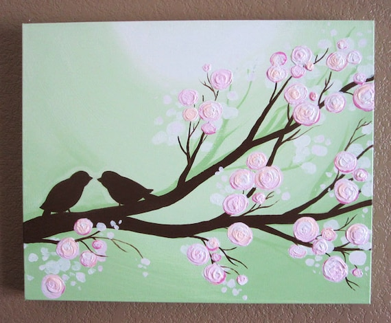 Pink And Green Wall Decor For Nursery : Wall art textured pink and green birds acrylic on canvas