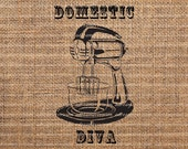 Kitchen Mixer-Instant Digital Downloads No. 104 - Domestic Diva - Download and Print - Digital Image Transfer -Clip Art