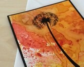 Dandelion Card, Red, Orange, Blank