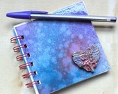 "Spiral Bound Notebook, Heart, Handpainted, 4"" x 4"""