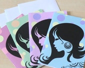 Retro Cards, Blank, Notecards, Pack of 4