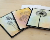 Dandelion Cards, Mini Cards, Nature, Blue, Pink, Orange Pack of 3