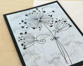 Blue Dandelion Card, Blank