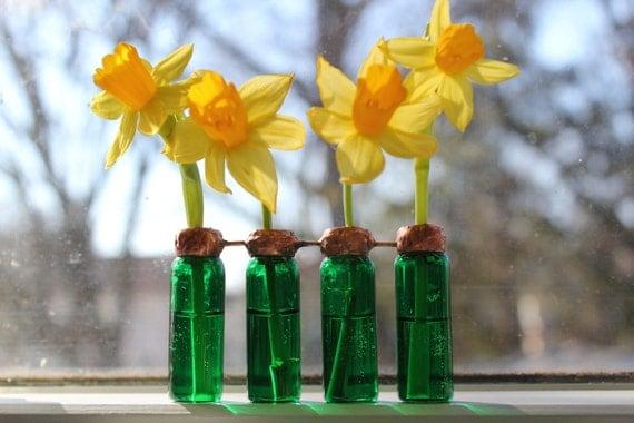 Upcycled Green Glass Vial Vase