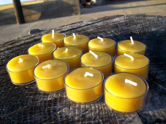 Beeswax Candles -Set of 12 Natural Beeswax Tea Lights in clear plastic cups