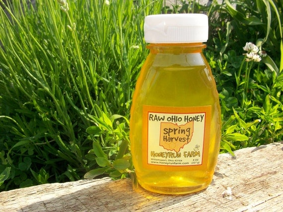 Pure Raw Spring Honey - 8 ounce jar - nectar from Black Locust, Bush Honeysuckle, Russian Olive