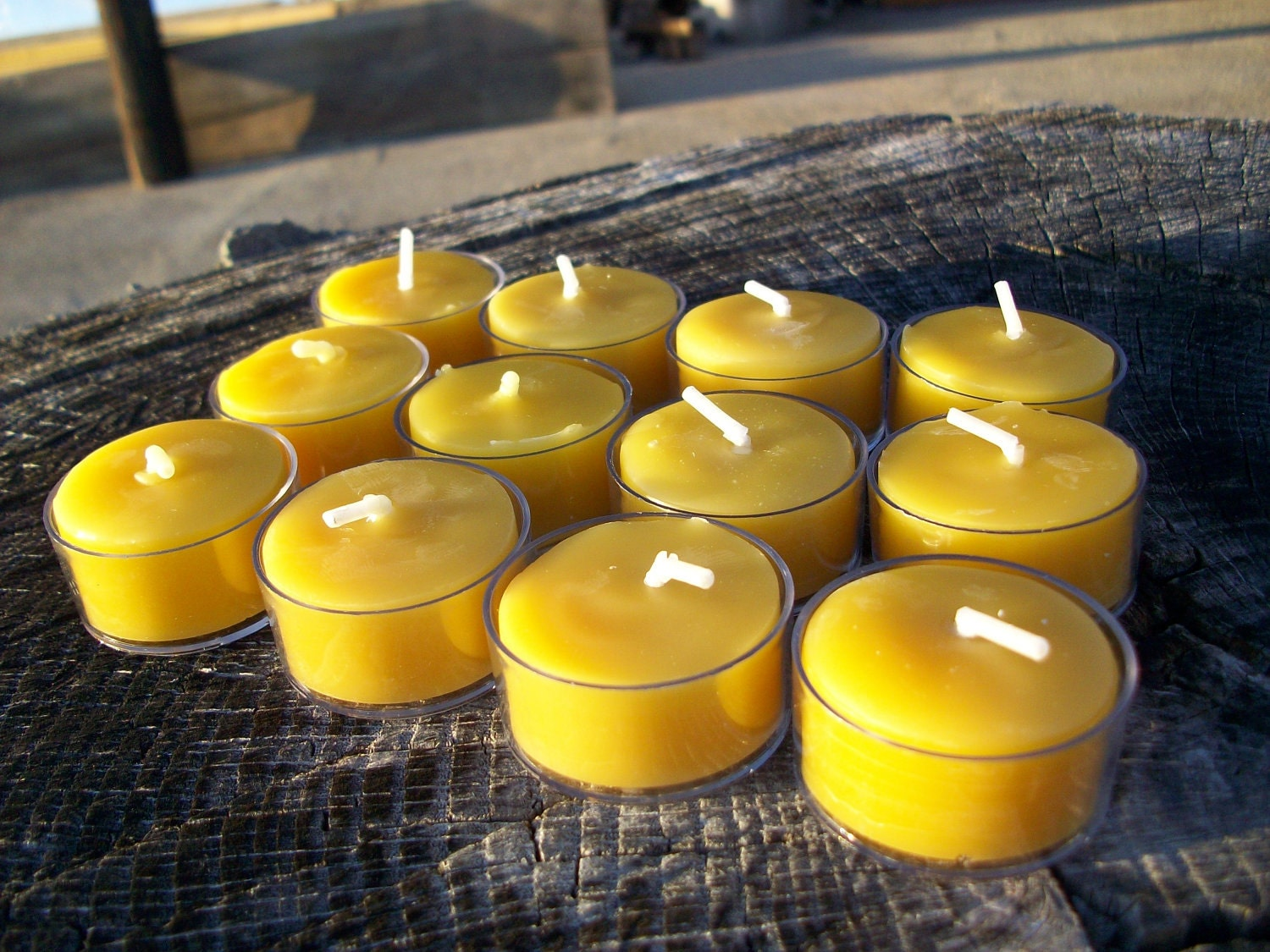Beeswax Candles Set Of 12 Natural Beeswax Tea Lights In Clear