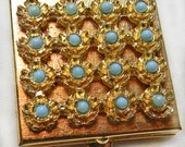 Pill Box Faux Turquoise Cabochons Gold tone