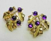 SALE Earrings Trifari Kunio Matsumoto Purple Grapes Leaves