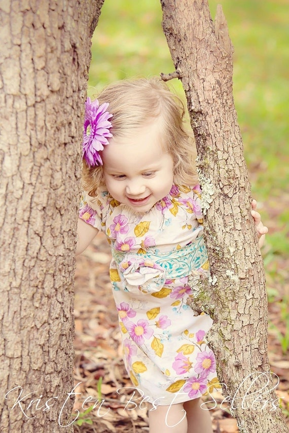 Field of Dreams - Lovely Gathered Peasant Dress in Promenade by Riley Blake Designs - Sizes 6, 7, 8