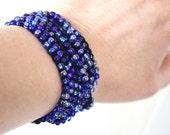 Bracelet, Necklace, Wrap Bracelet, Wrap Necklace, Crochet Bracelet, Crochet Necklace, Blue Czech Glass