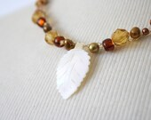 Necklace, Wire Crochet Necklace, Vintage Bead Necklace, Leaf Mother of Pearl Pendant, Freshwater Pearls, Crochet Jewelry
