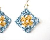 Earrings, Blue Gold Crochet Earrings, Modern Crochet, Crochet Jewelry, Granny Square, Metallic Thread