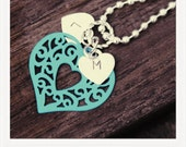 Hand Stamped Initial Necklace Letters L & M Sterling Silver with Blue Heart