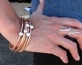 Copper Bangle with Fine Silver Button, Square Copper Wire Bangle, Copper and Silver Bangle Set