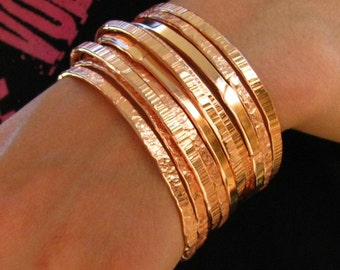Copper Bangles (5), Rustic Copper Bangles, Handmade Artisan Copper bangles,  Stacking Bangles, Pure Polished Copper