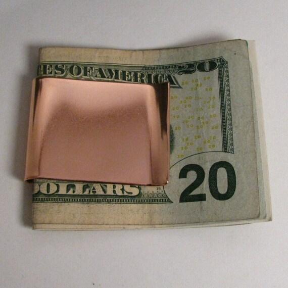 Wide Copper Money Clip, Stubby Copper Money clip, Copper Business Card Holder, Sturdy Copper moneyclip