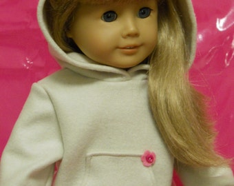 18 inch Doll Clothes Fits American Girl Hoodie - oatmeal
