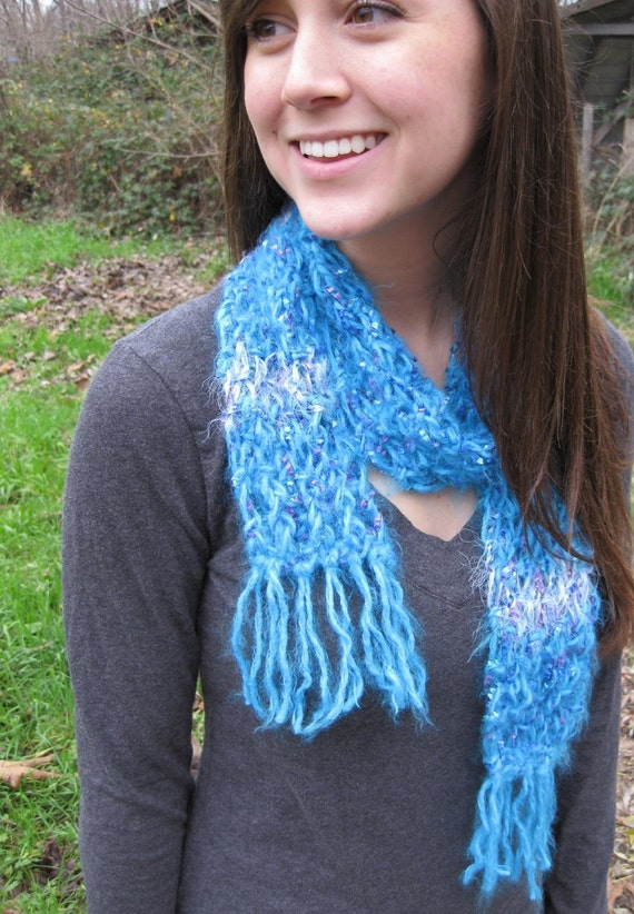 Bright Blue Handknit Scarf