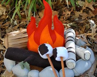 Felt Campfire Handmade Felt Toy Pretend Flame Rocks Logs and Marshmallows